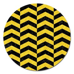 Chevron2 Black Marble & Yellow Colored Pencil Magnet 5  (round)