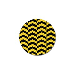 Chevron2 Black Marble & Yellow Colored Pencil Golf Ball Marker