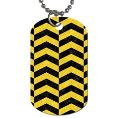 Chevron2 Black Marble & Yellow Colored Pencil Dog Tag (two Sides)