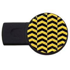 Chevron2 Black Marble & Yellow Colored Pencil Usb Flash Drive Round (2 Gb)