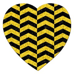 Chevron2 Black Marble & Yellow Colored Pencil Jigsaw Puzzle (heart)