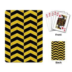 Chevron2 Black Marble & Yellow Colored Pencil Playing Card