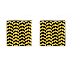 Chevron2 Black Marble & Yellow Colored Pencil Cufflinks (square)