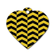 Chevron2 Black Marble & Yellow Colored Pencil Dog Tag Heart (one Side)