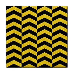 Chevron2 Black Marble & Yellow Colored Pencil Face Towel