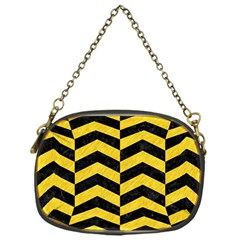 Chevron2 Black Marble & Yellow Colored Pencil Chain Purses (one Side)