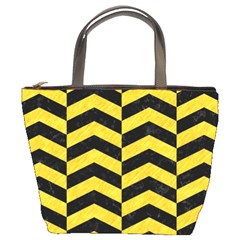 Chevron2 Black Marble & Yellow Colored Pencil Bucket Bags