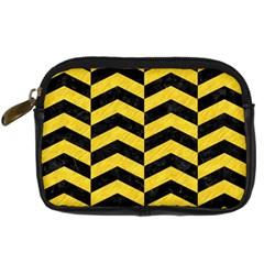 Chevron2 Black Marble & Yellow Colored Pencil Digital Camera Cases