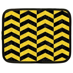 Chevron2 Black Marble & Yellow Colored Pencil Netbook Case (xxl)