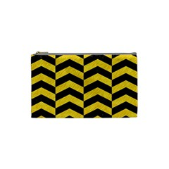 Chevron2 Black Marble & Yellow Colored Pencil Cosmetic Bag (small)