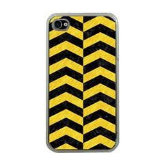 Chevron2 Black Marble & Yellow Colored Pencil Apple Iphone 4 Case (clear)