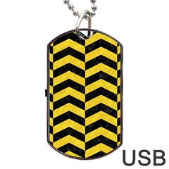 Chevron2 Black Marble & Yellow Colored Pencil Dog Tag Usb Flash (two Sides)