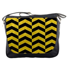 Chevron2 Black Marble & Yellow Colored Pencil Messenger Bags