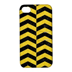 Chevron2 Black Marble & Yellow Colored Pencil Apple Iphone 4/4s Hardshell Case With Stand