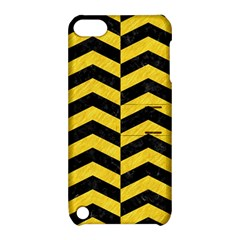 Chevron2 Black Marble & Yellow Colored Pencil Apple Ipod Touch 5 Hardshell Case With Stand
