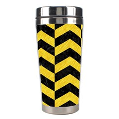 Chevron2 Black Marble & Yellow Colored Pencil Stainless Steel Travel Tumblers