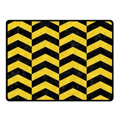 Chevron2 Black Marble & Yellow Colored Pencil Double Sided Fleece Blanket (small)