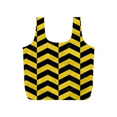 Chevron2 Black Marble & Yellow Colored Pencil Full Print Recycle Bags (s)