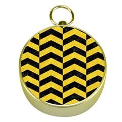 Chevron2 Black Marble & Yellow Colored Pencil Gold Compasses