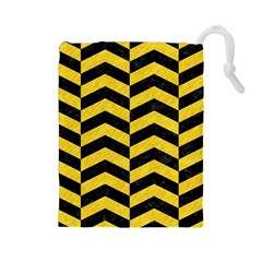 Chevron2 Black Marble & Yellow Colored Pencil Drawstring Pouches (large)