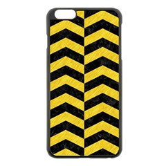 Chevron2 Black Marble & Yellow Colored Pencil Apple Iphone 6 Plus/6s Plus Black Enamel Case