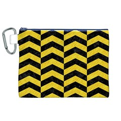 Chevron2 Black Marble & Yellow Colored Pencil Canvas Cosmetic Bag (xl)