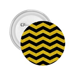 Chevron3 Black Marble & Yellow Colored Pencil 2 25  Buttons