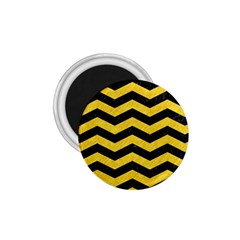 Chevron3 Black Marble & Yellow Colored Pencil 1 75  Magnets