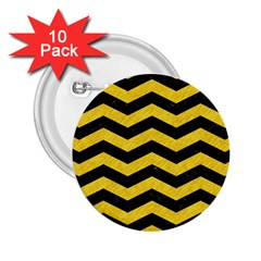 Chevron3 Black Marble & Yellow Colored Pencil 2 25  Buttons (10 Pack)