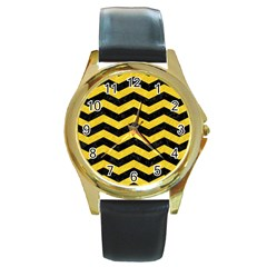 Chevron3 Black Marble & Yellow Colored Pencil Round Gold Metal Watch