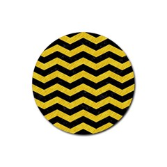 Chevron3 Black Marble & Yellow Colored Pencil Rubber Round Coaster (4 Pack)