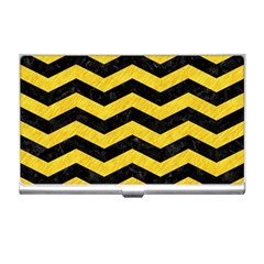 Chevron3 Black Marble & Yellow Colored Pencil Business Card Holders