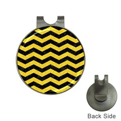 Chevron3 Black Marble & Yellow Colored Pencil Hat Clips With Golf Markers