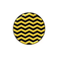 Chevron3 Black Marble & Yellow Colored Pencil Hat Clip Ball Marker