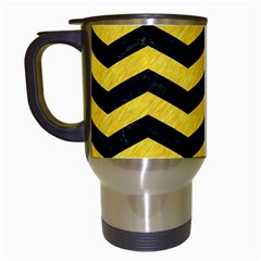 Chevron3 Black Marble & Yellow Colored Pencil Travel Mugs (white)