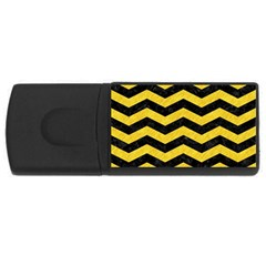 Chevron3 Black Marble & Yellow Colored Pencil Rectangular Usb Flash Drive