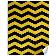 Chevron3 Black Marble & Yellow Colored Pencil Canvas 36  X 48