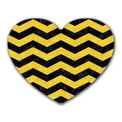 Chevron3 Black Marble & Yellow Colored Pencil Heart Mousepads