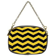 Chevron3 Black Marble & Yellow Colored Pencil Chain Purses (one Side)