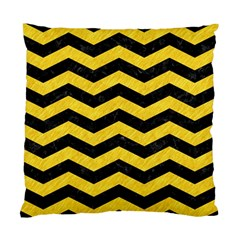 Chevron3 Black Marble & Yellow Colored Pencil Standard Cushion Case (two Sides)
