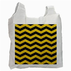 Chevron3 Black Marble & Yellow Colored Pencil Recycle Bag (one Side)