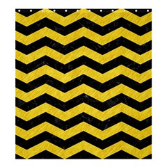 Chevron3 Black Marble & Yellow Colored Pencil Shower Curtain 66  X 72  (large)