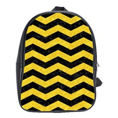 Chevron3 Black Marble & Yellow Colored Pencil School Bag (large)