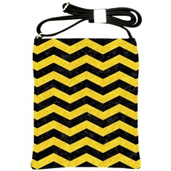 Chevron3 Black Marble & Yellow Colored Pencil Shoulder Sling Bags