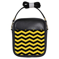 Chevron3 Black Marble & Yellow Colored Pencil Girls Sling Bags