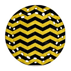 Chevron3 Black Marble & Yellow Colored Pencil Round Filigree Ornament (two Sides)