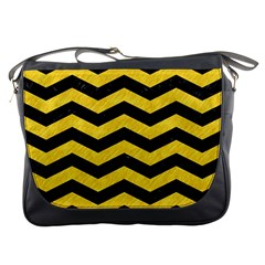 Chevron3 Black Marble & Yellow Colored Pencil Messenger Bags