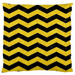Chevron3 Black Marble & Yellow Colored Pencil Large Cushion Case (one Side)