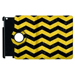Chevron3 Black Marble & Yellow Colored Pencil Apple Ipad 3/4 Flip 360 Case