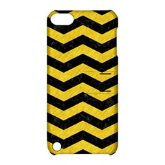 Chevron3 Black Marble & Yellow Colored Pencil Apple Ipod Touch 5 Hardshell Case With Stand